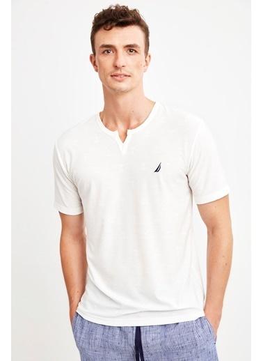 Nautica M121 Pijama Takım Beyaz
